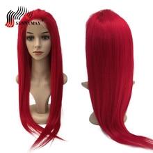 Sunnymay חזית חזית שיער אדם פאות צבע אדום ברזילאית שיער וירג 'ין חזיר עם שיער ביי Precuked