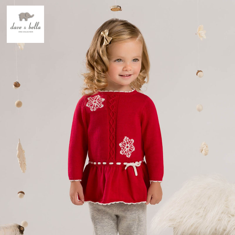 DB4257 davebella girls knitted dress snow flour dress Christmas season ruffle dress boutique baby girls