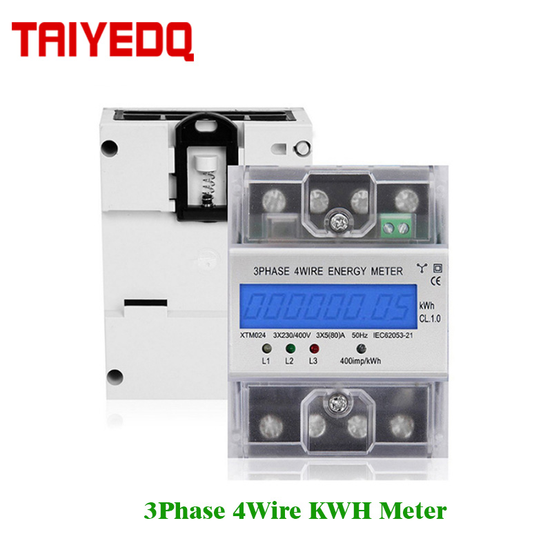 3 Phase <font><b>4</b></font> Wire Digital Energy Meter XTM024 Watt Power Consumption 380V AC KWH meter 6A 80A 100A LCD Electricity Power Meters image