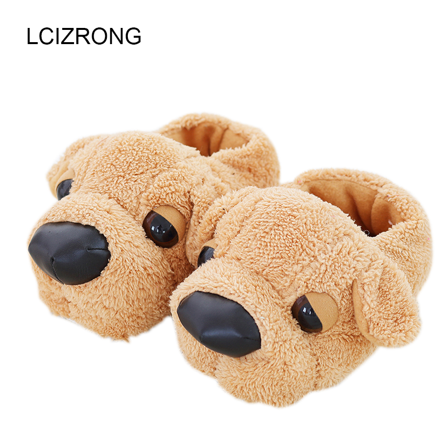 Women Anime Cartoon Dog Slippers Lovers Warm Indoor Woman Slippers Plush Shoes Girl Home Pantufas House Ladies Slippers Children цена 2017
