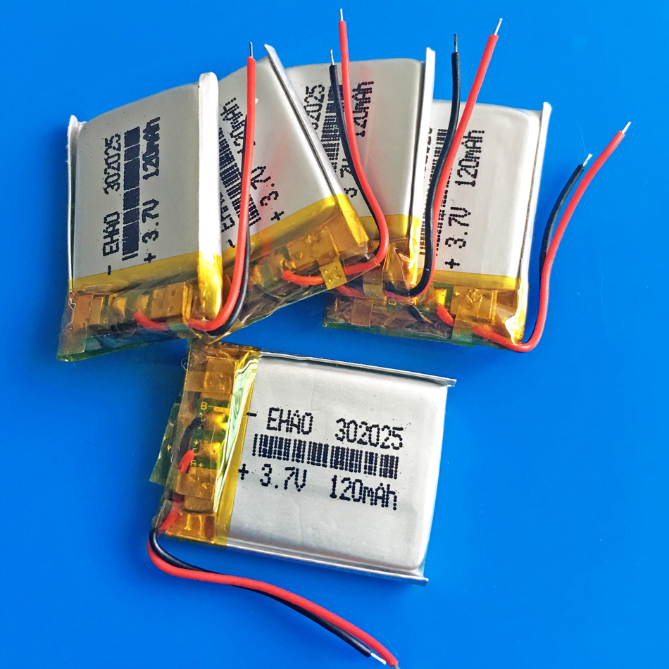 5 pcs 3.7V 120mAh <font><b>302025</b></font> 032025 Lithium polymer lipo rechargeable battery for MP3 GPS bluetooth speaker bluetooth headset camera image