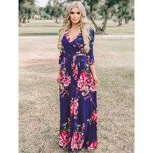 فستان نصف كم طويل و مثير بطباعة الأزهار