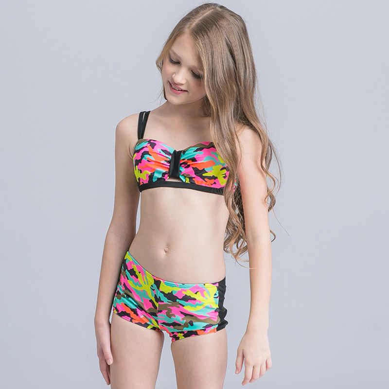 5633eee1ffc ... 2019 New Girl Swim Wear Camouflage Print Kids Swimsuit Teenager Girl Bikini  Set Push Up Two ...
