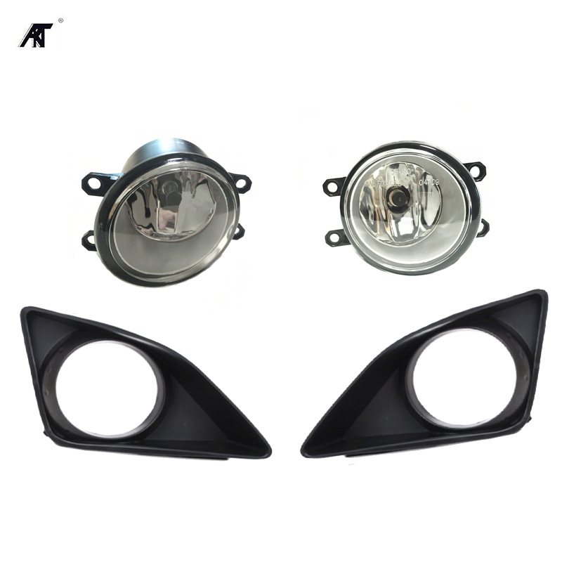 4Pcs Front Right Left Fog Light Lamp + Grille Cover Bezel for Toyota Corolla 2007 2008 2009 2010 1set front chrome housing clear lens driving bumper fog light lamp grille cover switch line kit for 2007 2009 toyota camry