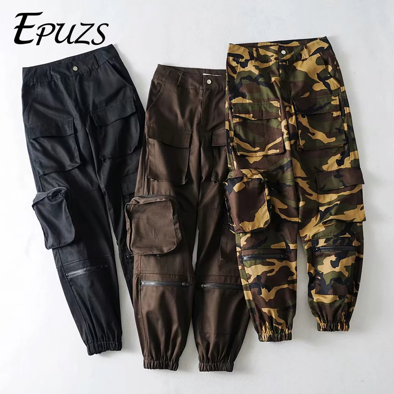 Spring Camouflage Cargo Pants Women Black Loose High Waist Harem Pants Cotton Pocket Trousers Joggers Sweatpants 2019