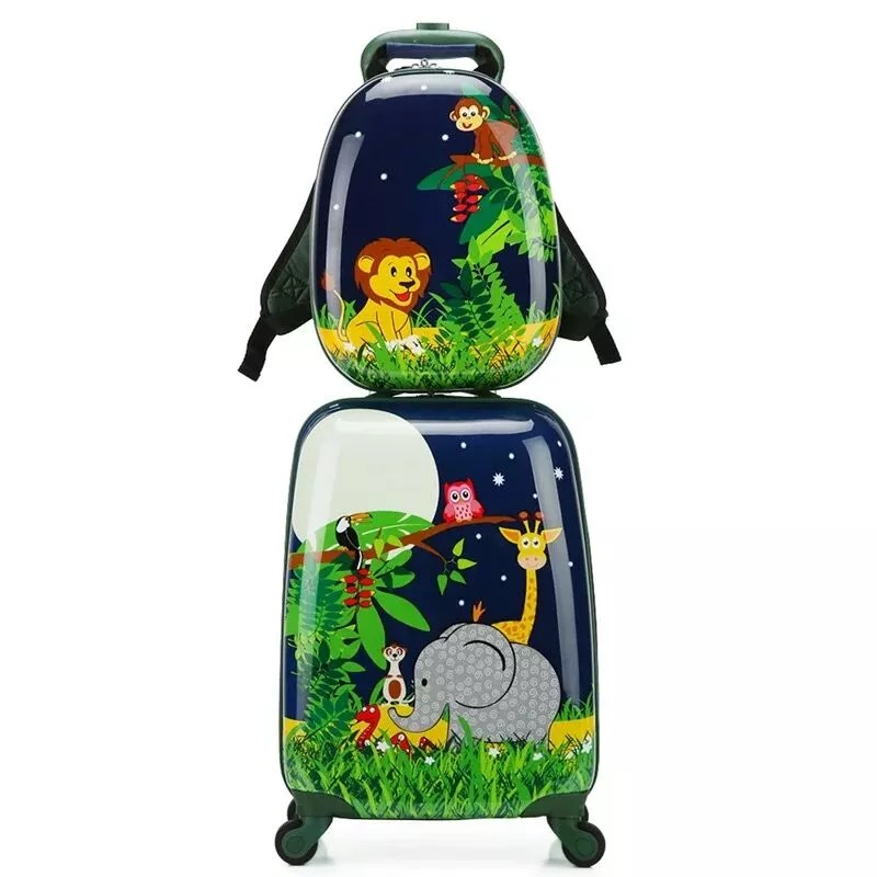 Children cartoon trolley suitcase set travel bag primary school backpack boys girls cute spinner carry on
