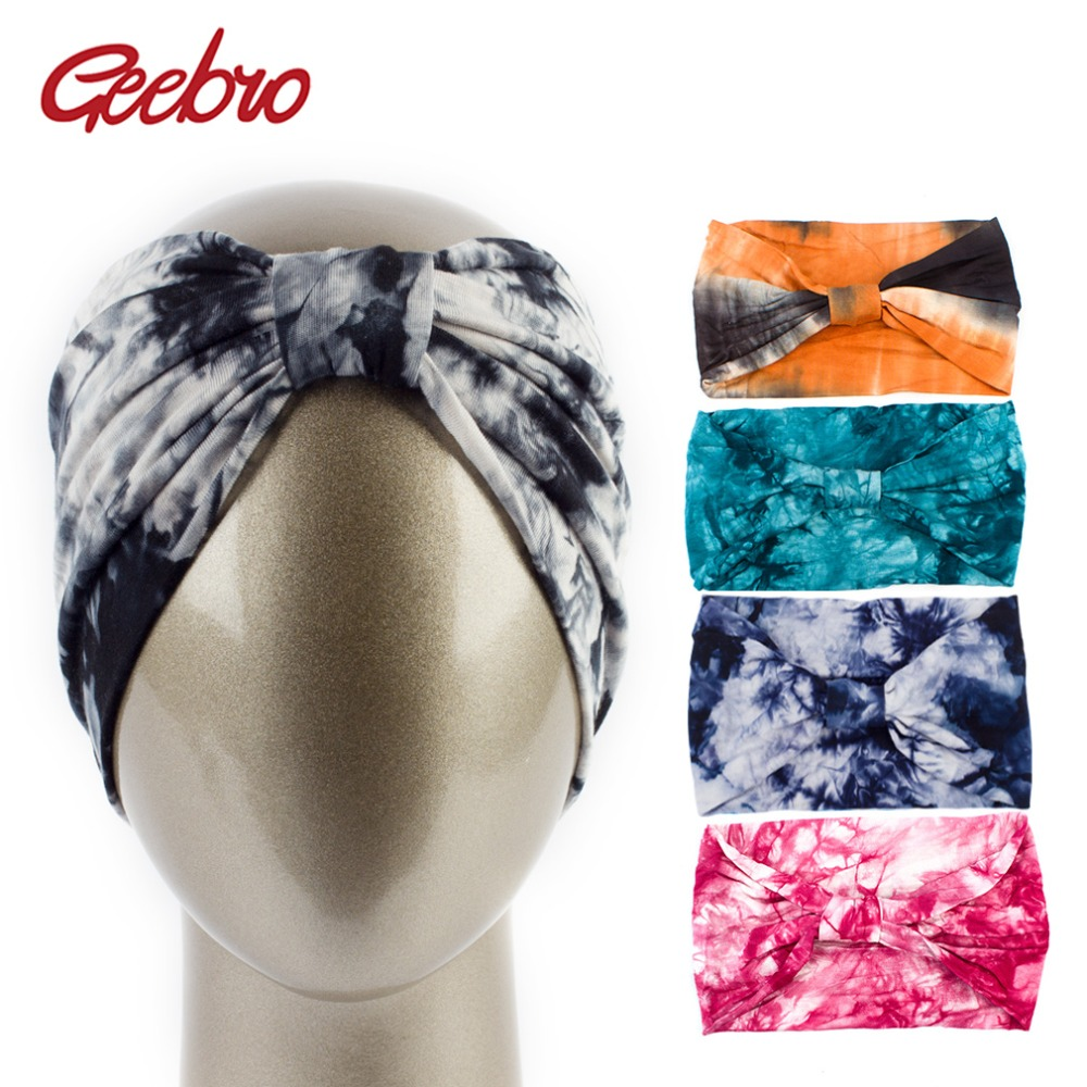 Geebro Women Tie Dye Printing Twist Stretch Cotton Headbands Elastic Hair Bands For Girls Hair Band Accessories   Headwear   Bandage