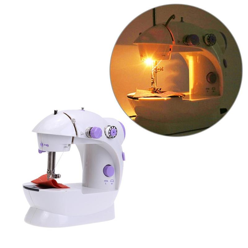 Mini máquina de coser eléctrica de mano 2018 Ajuste de doble velocidad con pie ligero AC100-240V doble hilo máquina de coser Pendal