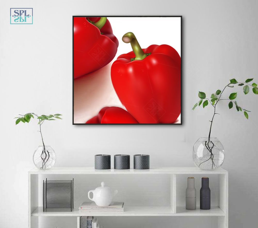 SPLSPL Green Red Pepper Vegetables Pepper Green Pepper Murals Decorative Painting For Living Room Wall Art Canvas Pictures