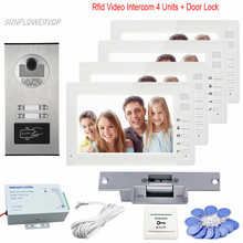 Home Phone 7″ Color 4 Monitors Intercom Door Video Phone 4 Buttons Rfid Ring Video Doorbell Camera With Electric Strike Lock