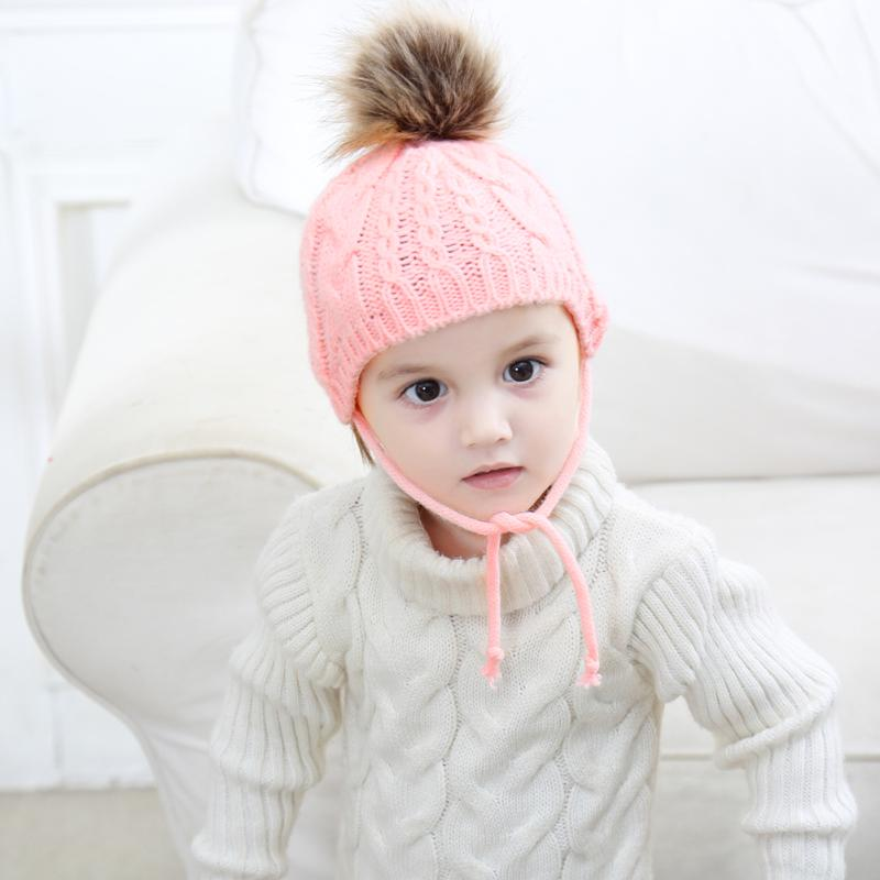 Lovely Baby Boys Girls Winter Cap Ear Protection Hat Cute Solid Warm Knitted Fur Ball Decoration Beanies Cap Baby Infant Hat
