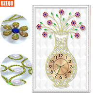 UzeQu Special Shaped Diamond Painting Cross Stitch Watch Flower Vase Diamond Embroidery Wall Clock 3D Diamond
