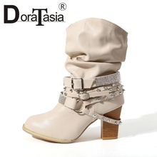 DORATASIA New Retro mid-calf Western Boots Women 2019 Autumn Large Size 35-43 slip-on Vintage High Heels Shoes Woman
