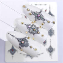 YZWLE 2019 NEW Designs 1 Sheet Vintage Noble Grey Necklace Designs For Nail Art Watermark Tattoo Decorations Nail Sticker(China)