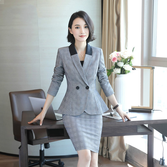 f37f5f453a Blazer Jacket+ Suit Set Hotel Work Clothes Formal Uniform Female Business  Elegant Brazer Suits