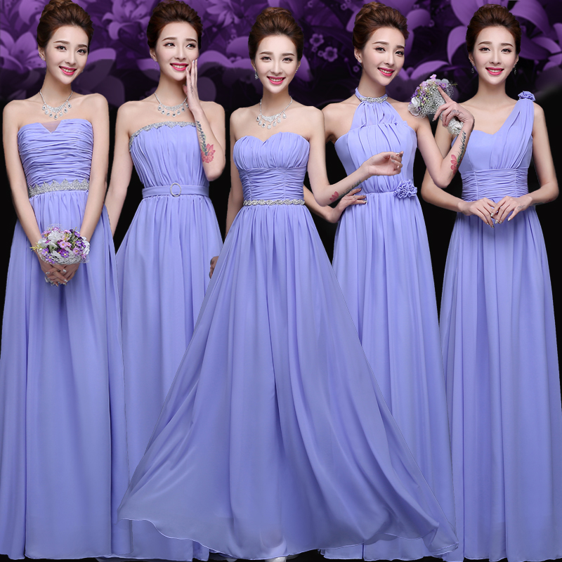 5 Designs Purple Bridesmaid Dresses Sister Dress Tube Top Bandage ...