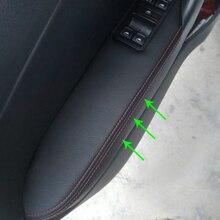 LHD черная кожа с синей строчкой для VW Polo 2011- только хэтчбек из микрофибры кожаная дверная ручка подлокотник панель Крышка