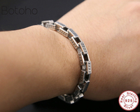 Solid 100% 925 Sterling Silver Men's Bracelet Bracelet Vintage Thai Silver Men's Heavy Bracelet Thai silver personality bracelet