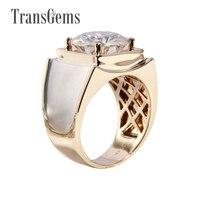 Transgems 3 карат Solid 585 Золото Классический Для мужчин кольцо тонкие Подлинная Муассанит Обручение кольцо для Для мужчин популярный дизайн коль