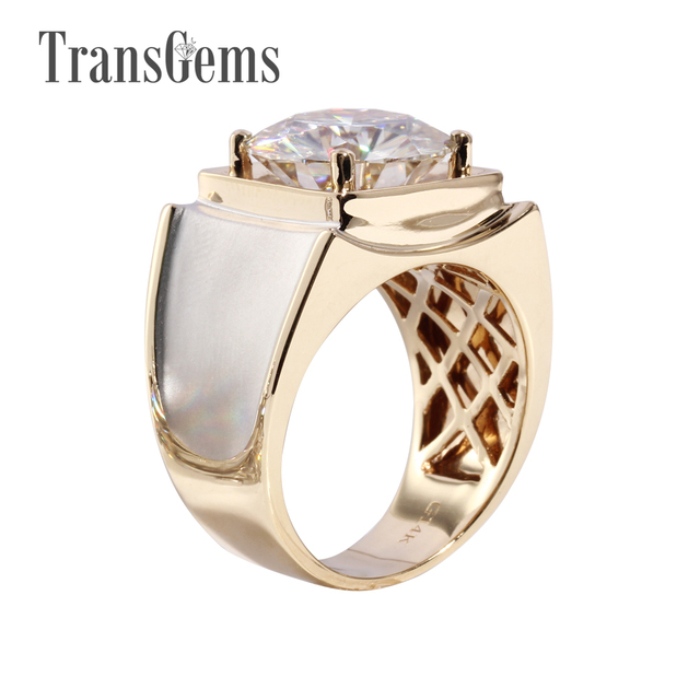 Transgems 3 Carat Solid 585 Gold Classic Men's Ring Subtle Genuine Moissanite Engagement Ring For Men Popular Design Ring