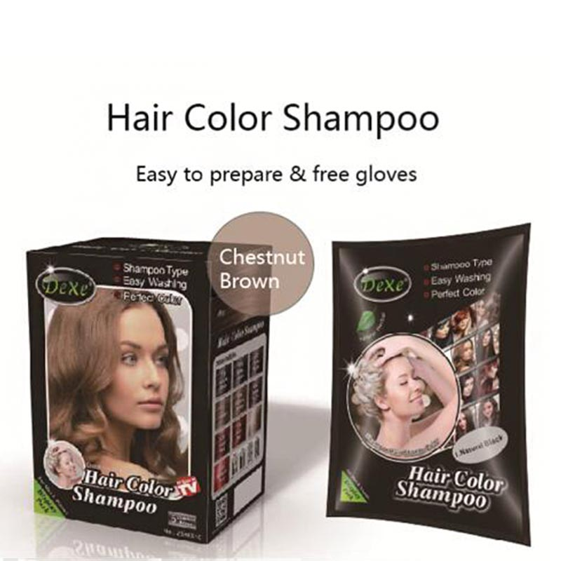 5pcslot Dexe Chestnut Brown Black Hair Color Shampoo Washable