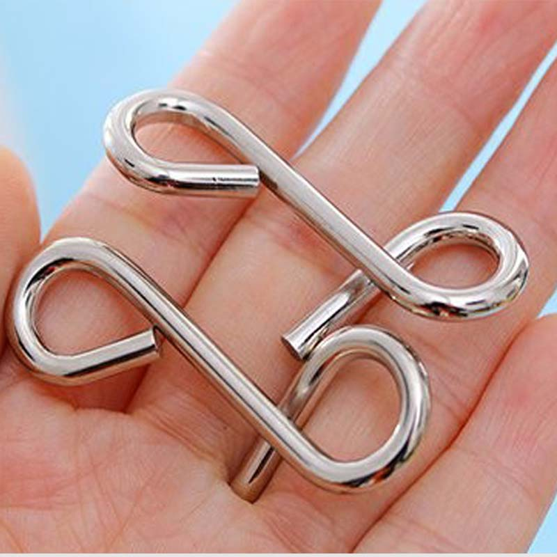 8 Set Metal Wire Baby Puzzle Educational Mind Brain Training Game Toy Nine Interlocking Link For Adults Children Kids S