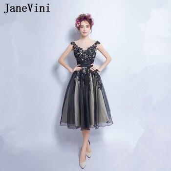 JaneVini 2018 Plus Size Bridesmaid Dresses Lace Appliques A Line V Neck Backless Tulle Illusion Knee Length Demoiselle D'honneur