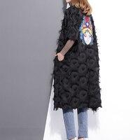 2017 Spring Summer Fashion Black White Embroidery Back Coat Loose Feather Windbreaker V Neck Big Size