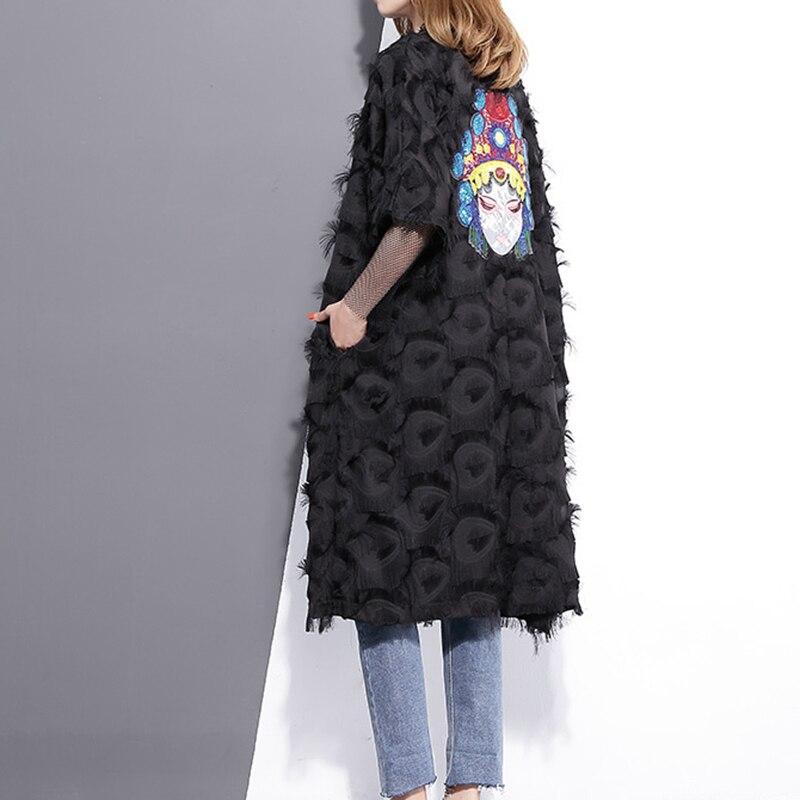 GUTU 2017 Spring Summer Fashion Black White Embroidery Back Coat Loose Feather Windbreaker V Neck