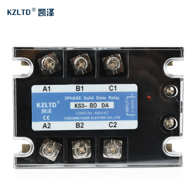 KZLTD Three Phase Solid State Relay 80A SSR Relay 3-32V DC to 30-480V AC SR Relay Solid State Three Phase AC DC Rele high quality ac ac 80 250v 24 380v 60a 4 screw terminal 1 phase solid state relay w heatsink