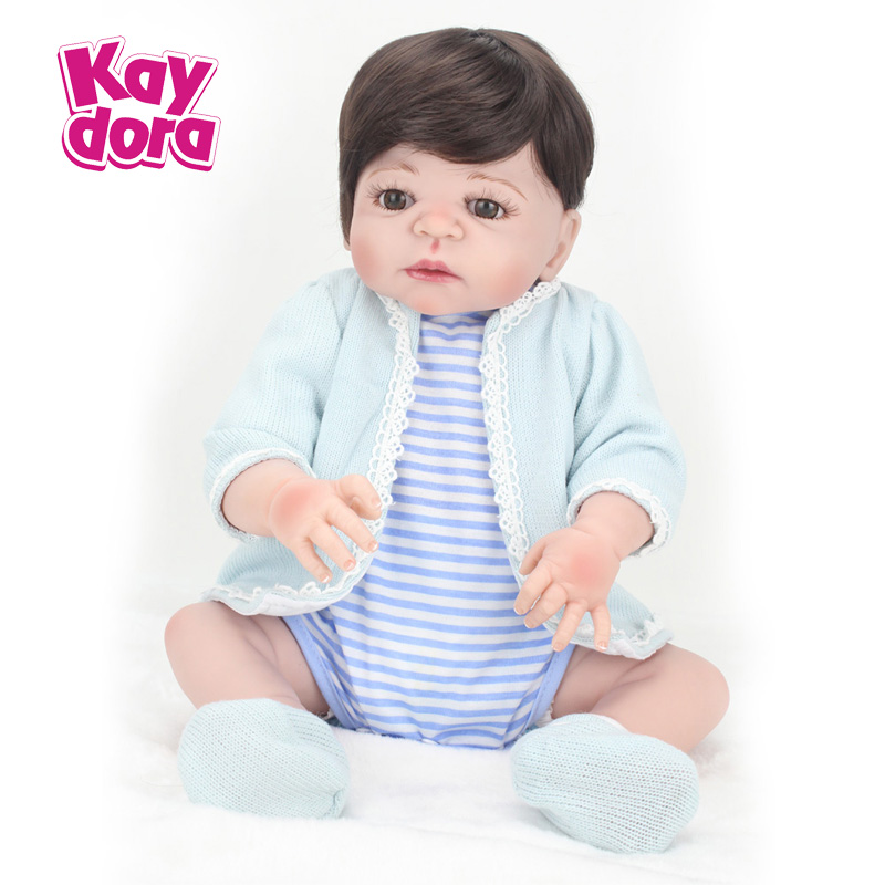 22 inch 55cm Full Silicone Reborn Baby Dolls Alive Lifelike Real Dolls Girl Realistic Kids Reborn Babies Toys Boy Birthday Gift 22 silicone reborn dolls real reborn babies 100