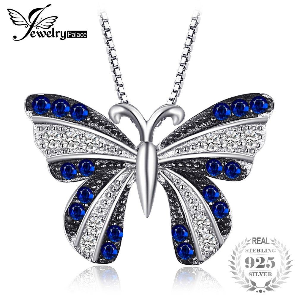 SmyckenPalace Butterfly 0.4ct Skapat Blå Spinel Hänge 100% 925 Sterling Silver Inte Med En Kedja Kvinna Mode Charm