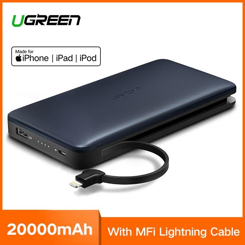 Ugreen Мощность Bank 20000 мАч внешний Батарея Зарядное устройство для iPhone XR 8 huawei P20Pro Портативный банк быстрой зарядки Мощность банк 20000 мАч