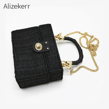 Summer Beach Bag Box Handbag Women Vacation Chain Woven Straw Handbag Wicker Wood Bohemian Rattan Clutch Bag Female Shoulder Bag