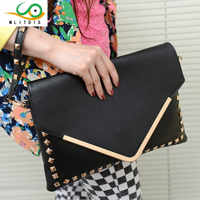MLITDIS Han edition tide bag big envelope bag hot style restoring ancient ways with his file joker South Korea female bag the new spring and summer 2016 spin lock tide restoring ancient ways contracted one shoulder hand his small bag free postage