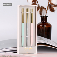 Never 0.7mm 3pcs Pink Blue Gray Pen Length Ballpoint pens Cartridge Sales Gifts Boutique Student Stationery Office Pen Writing
