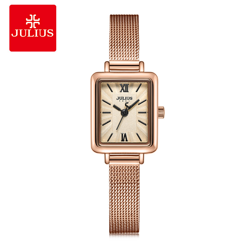 Julius Ladies Elegant Business Watch Rose Gold Rectangle Classic designer Watch High Quality Simple Quartz Watch