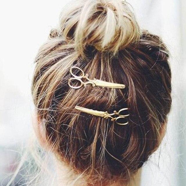 1 Pc Women Chic Golden Silvery Scissors Shape Hair Clip Hair Pin Headwear