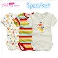 Baby boy baby girl bodysuit verão 3 pcs set bebê momscare de manga curta macacão roupa do bebê recém-nascido