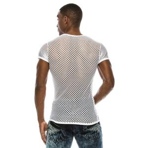 Männer Mesh Sehen-durch Fishnet T Hemd 2018 Mode Sexy Kurzarm Nachtclub Tragen T-shirt Männer Party Durchführen streetwear Tops