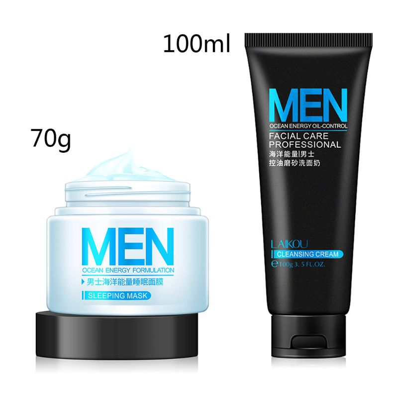 Men Ocean Energy Formulation Sleeping Mask 70g Facial Cleanser 100ml Moisturizing Oil Control Skin Care