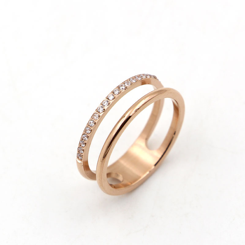 The new fashion hollow double layer 21 handmade inlaid crystal ring, plated rose gold men and women engagement ring