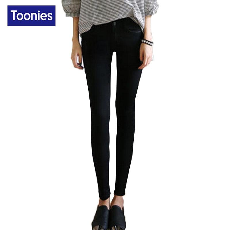 2017 New Solid High Waist Denim Pants Women Winter Thicken Plus Velvet Full Length Zipper Fashion All-match Blue Black 26-31Size