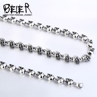 Beier new store 316L stainless steel necklace Cool Skull Necklace Punk Rock Ball Men's Necklace High Quality Jewelry LLBN1031