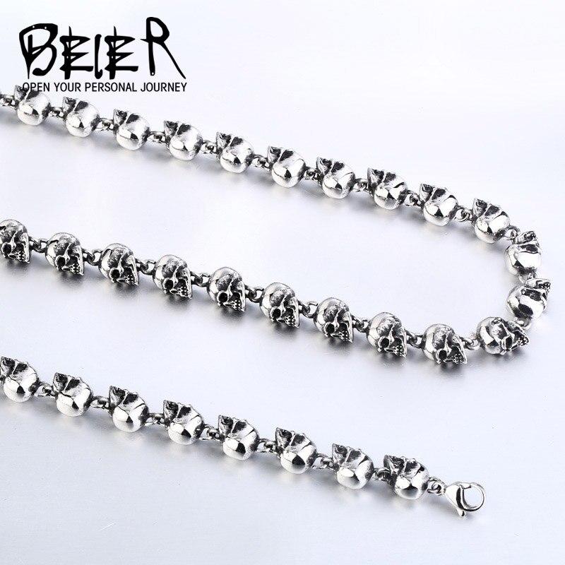 Beier nouveau magasin en acier inoxydable 316L collier Cool crâne collier Punk Rock Ball hommes collier de haute qualité bijoux LLBN1031