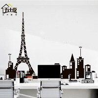Skyline Vinyl Wall Decal Paris Tower Eiffel Tower Mural Art Skyline Wall Stickers Office Living Room