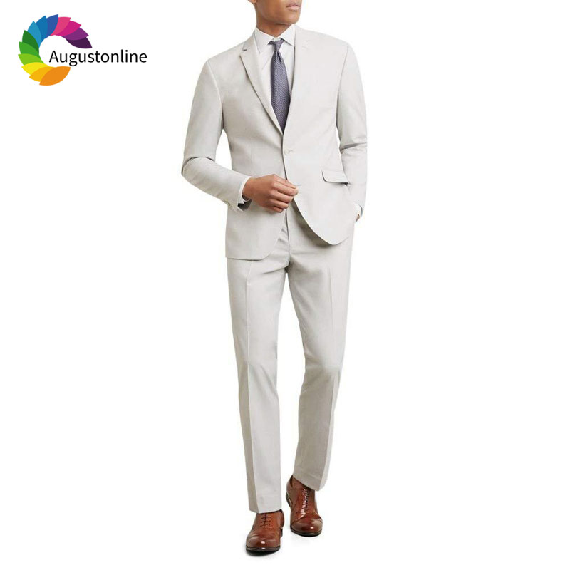 Custom Made Ivory Costume Homme Men Wedding Suits Slim Fit Groom Tuxedo 2Piece Tailored Best Man Blazer Masculino Jacket Pants