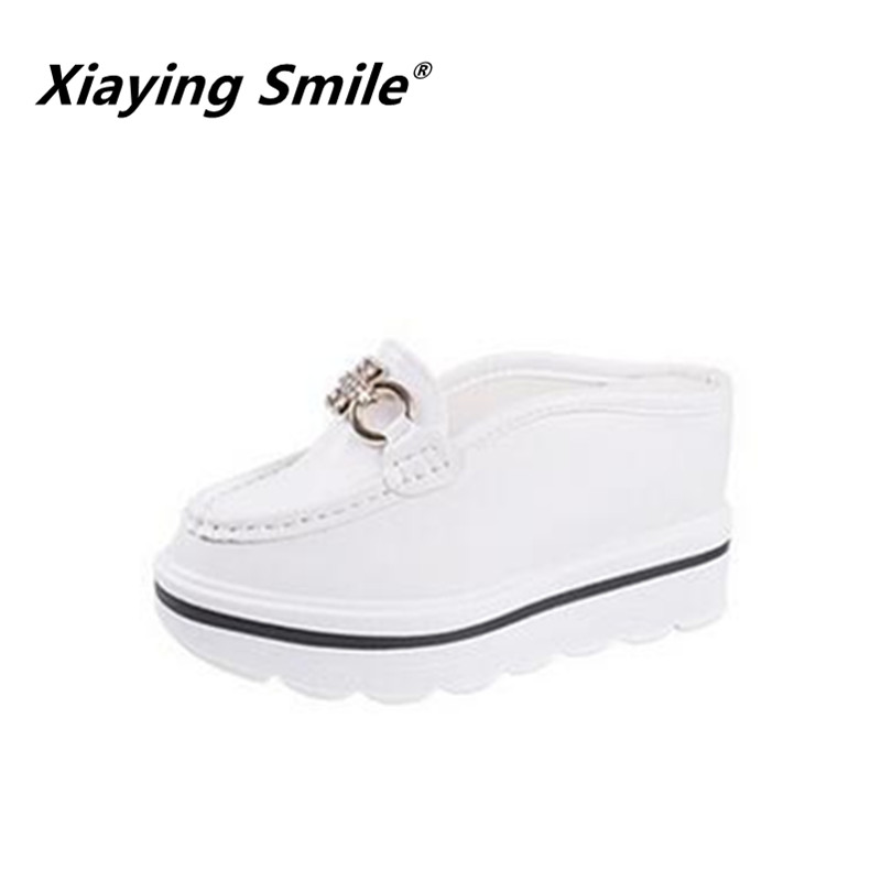 Xiaying Smile Woman Slippers Shoes Women Sandals Summer Wedges Heel Platform Metal Decoration Slippers Bling Crystal Women Shoes xiaying smile woman sandals shoes women pumps summer casual platform wedges heels sennit buckle strap rubber sole women shoes