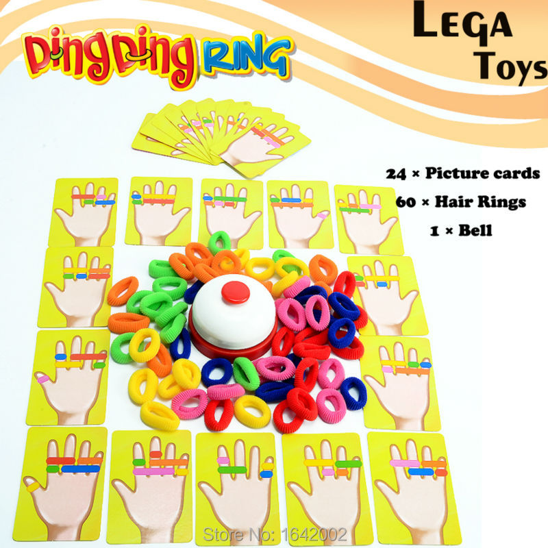 Family Fun Ring Ding Toy Great Party Games Practical Gadgets Funny Challenge toys,1 Bell,24 pcs picture cards 60 pcs Hair Ring image