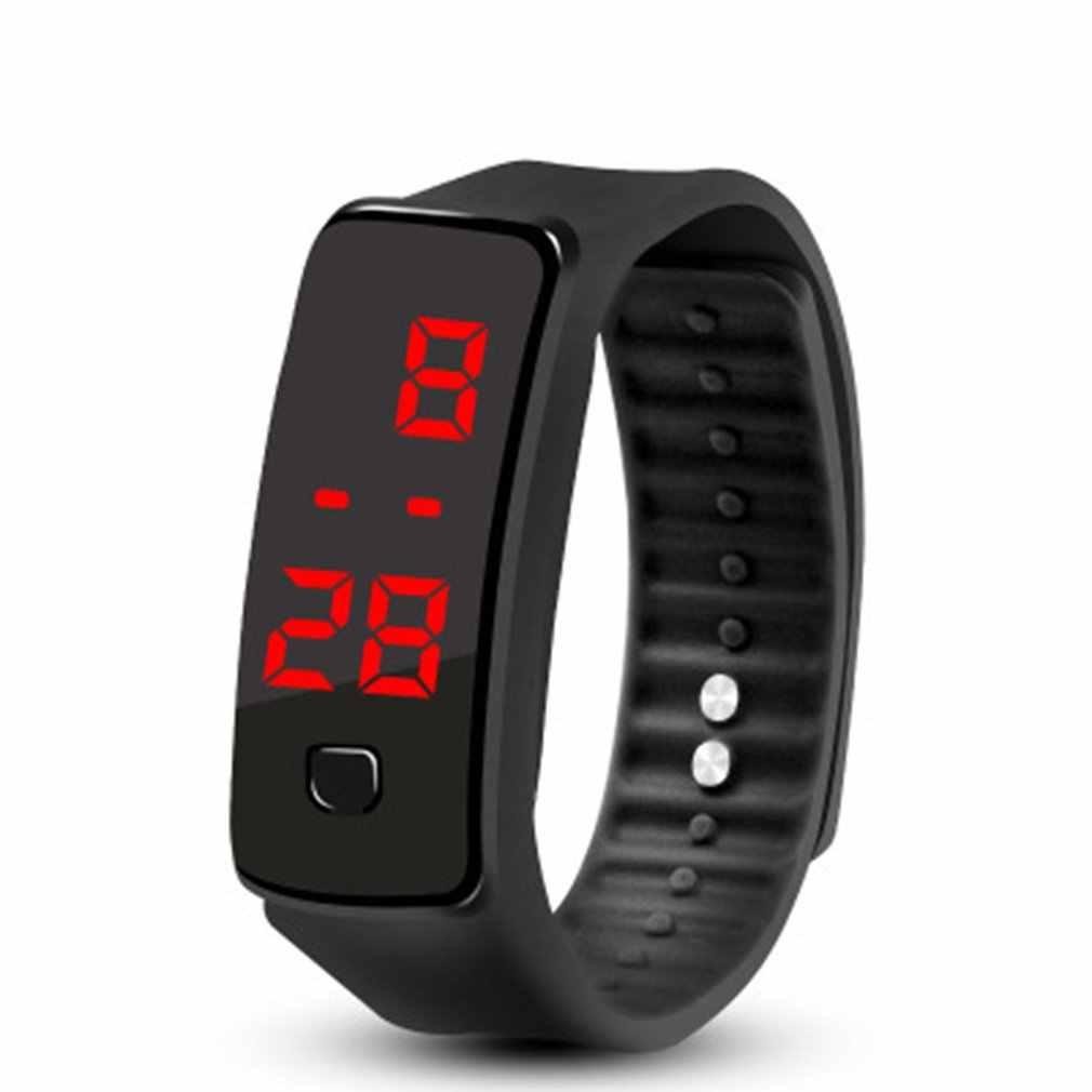 Светодиодный силиконовый браслет легкий мягкий модный фитнес спортивный ремешок часы для мужчин и женщин